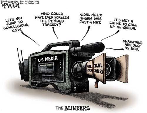 William Warren, Political Cartoonist - Politically Correct Media Blinders at Ft Hood